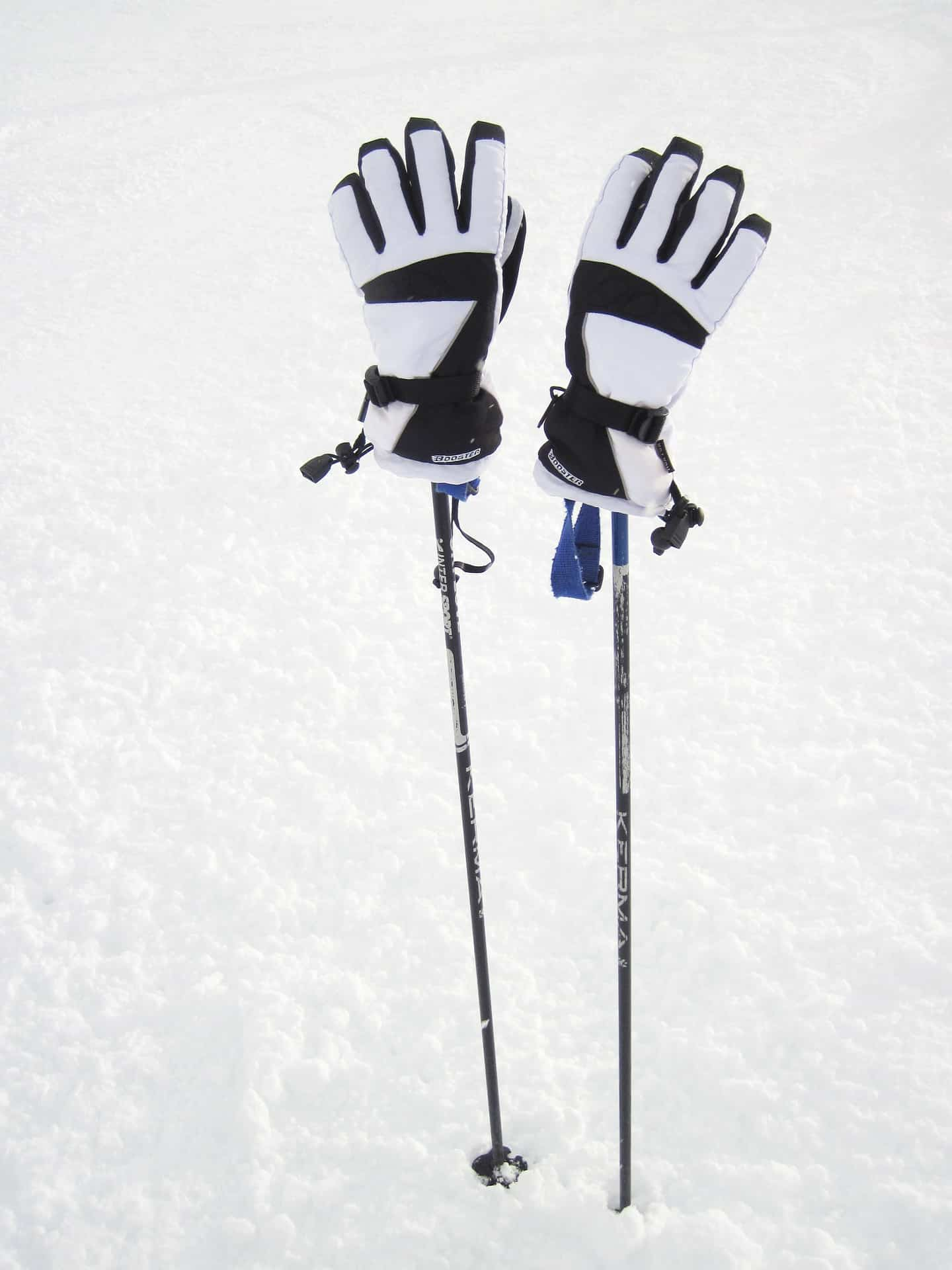 pair of white ski gloves and poles